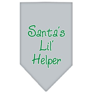 Santa Lil Helper Screen Print Bandana Grey Large